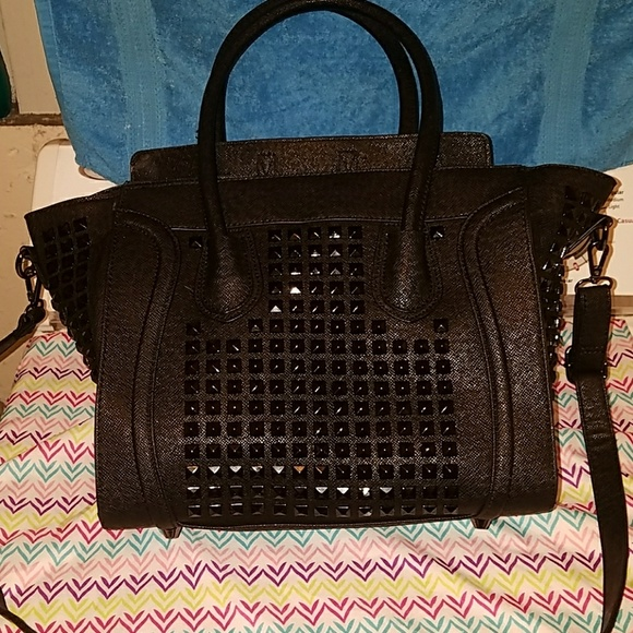 3304296ec Anna Grace Bags | Black Studded Purse | Poshmark